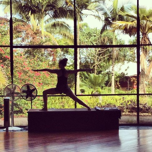 Beautiful practice space for Troy's yoga teacher trainings at Kalani Retreat Center.